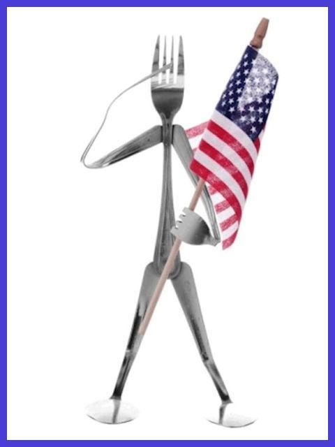 Fork Head Flag Holder Figurine by Forked Up Art