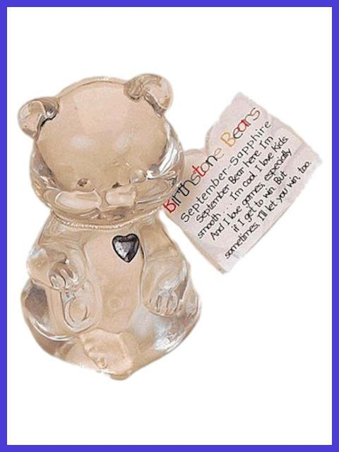 September Birthstone Bear Figurine by Fenton Glass